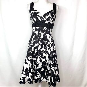 White House Black Market Black & White Midi Dress